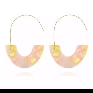 NEW. Multicolor pink & yellow U shared earrings.